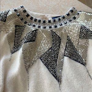 Gorgeous beaded neckline L sweater